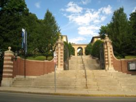 The main gate of Tufts University in Medford. Credit Wikimedia Commons